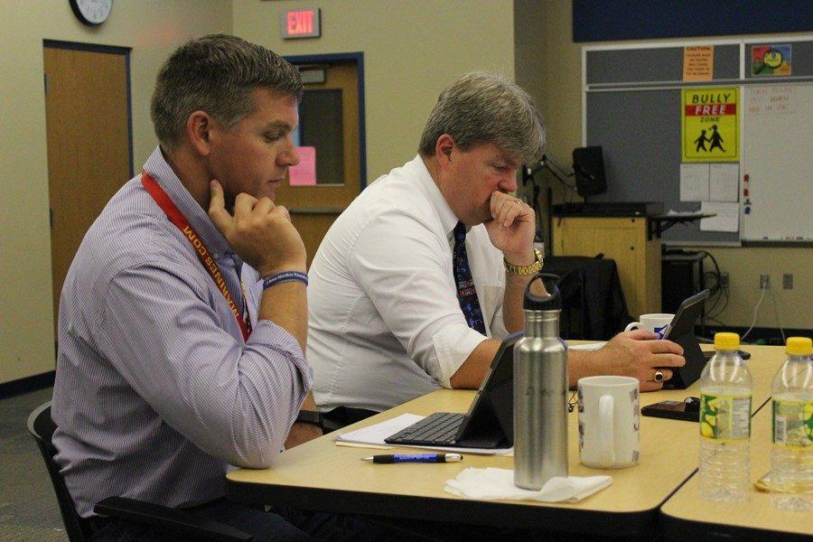 High+school+principal+Mr.+Richard+Schreier+and+Superintendent+Dr.+Thomas+McInroy+took+in+three+days+of+iPad+training+recently.