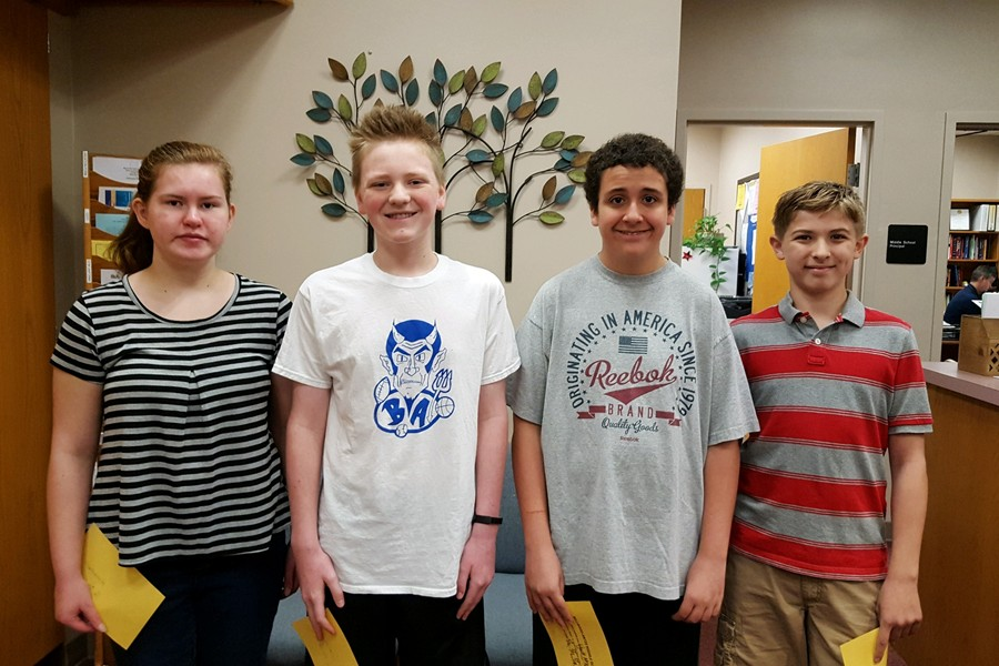 Middle+school++Students+of+the+Week+are%3A+Rebbecca+Burns%2C+Ethan+Hess%2C+Wyatt+McKendree%2C+and+Aston+Hundt.