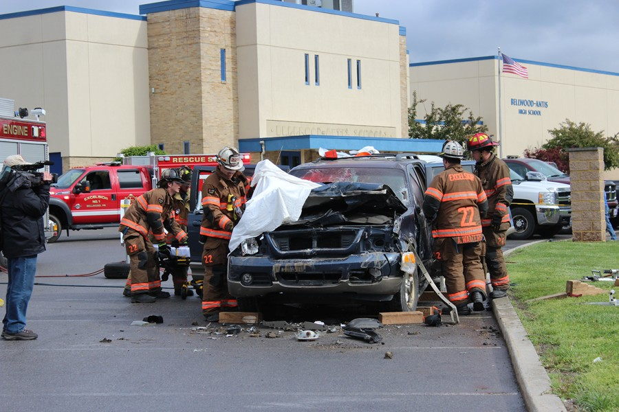 Fire+Department+volunteers+show+students+the+dangers+of+reckless+driving+on+the+road.+