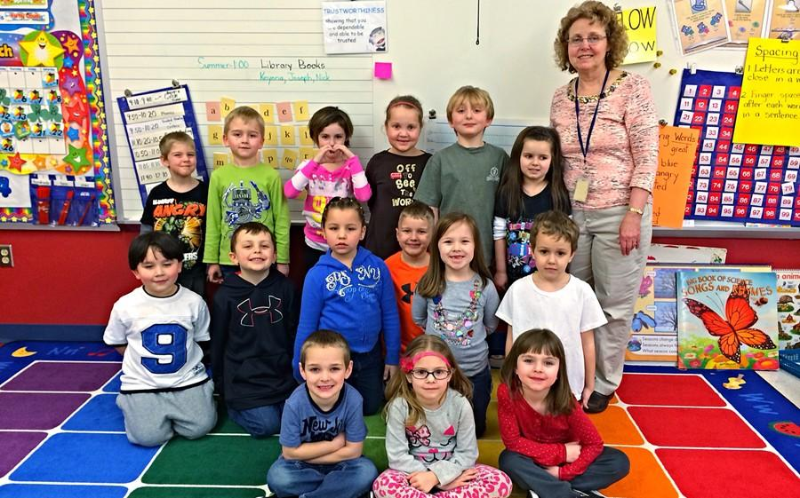 Mrs.+Geist+poses+with+her+35th+and+last+class+of+elementary+students+at+Bellwood-Antis.++She+is+retiring+at+the+end+of+this+school+year.