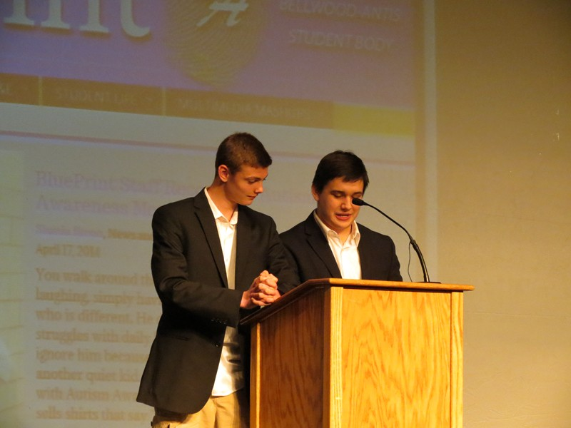 Luke Hollingshead (left) and Revel Southwell (right) entertained the audience at the poetry slam with a satirical poem about the Bellwood-Antis faculty.