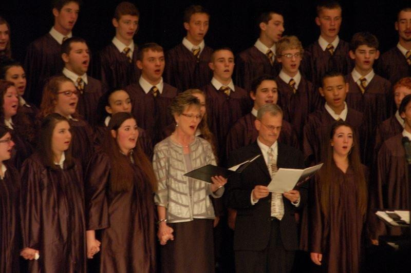 Mrs.+Wright+and+Mr.+Bower+sang+with+their+choir+members+one+last+time+at+the+senior+high+choral+concert+on+Wednesday.