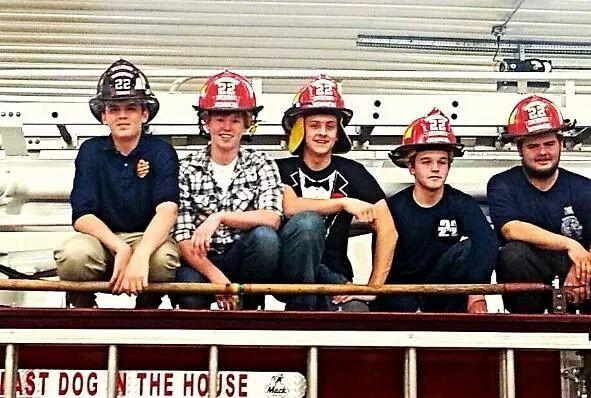 Bellwood-Antis students (l to r) Tom Whiteford, Justin Gunsallus, Scott Pearce and Connor Himes are all volunteer members of the Excelsior 22 Fire Department. Also pictured on the end is 2013 B-A graduate Tyler Parshall.