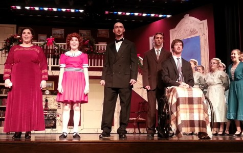 The stars of Annie take in a well-deserved ovation during the final number of the play.  Annie played to sold out shows for six straight days last week at Bellwood-Antis.