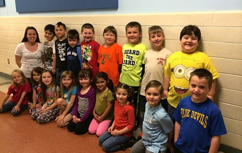 Danielle Coho, back row far left, shown here with her kindergarten class at Myers.