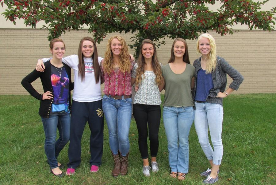 The+2014+Homecoming+court+includes+%28from+left+to+right%29+Meghan+Claar%2C+Kelly+Leamer%2C+Anna+Wolfe%2C+Paige+Padula%2C+Hannah+Cherry%2C+and+Alayna+Roberts.