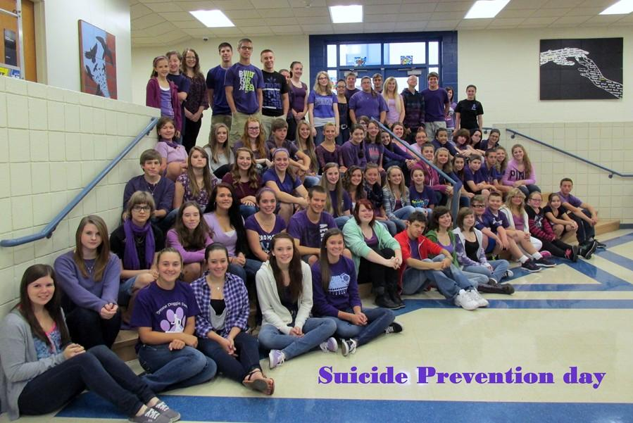 Students were encouraged to wear purple on Wednesday to raise awareness for suicide.