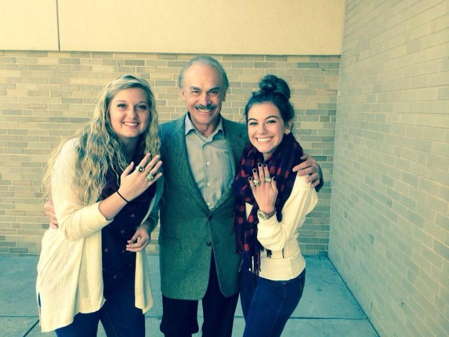 Natalie Dumin and Paige Padula sporting Rocky Bleier's Super Bowl bling.