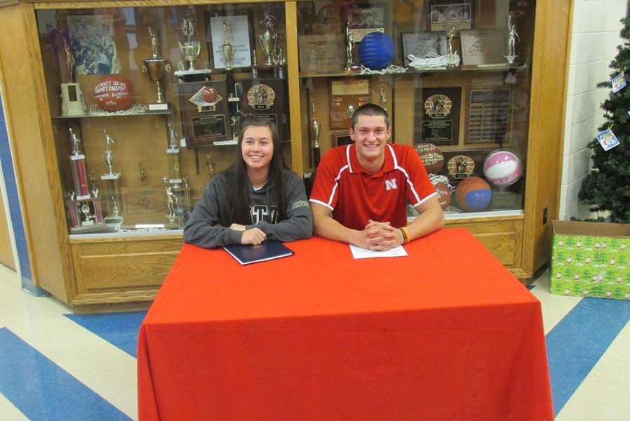 Ana Hollen and Chad Luensman signed letters of intent to play sports in college.