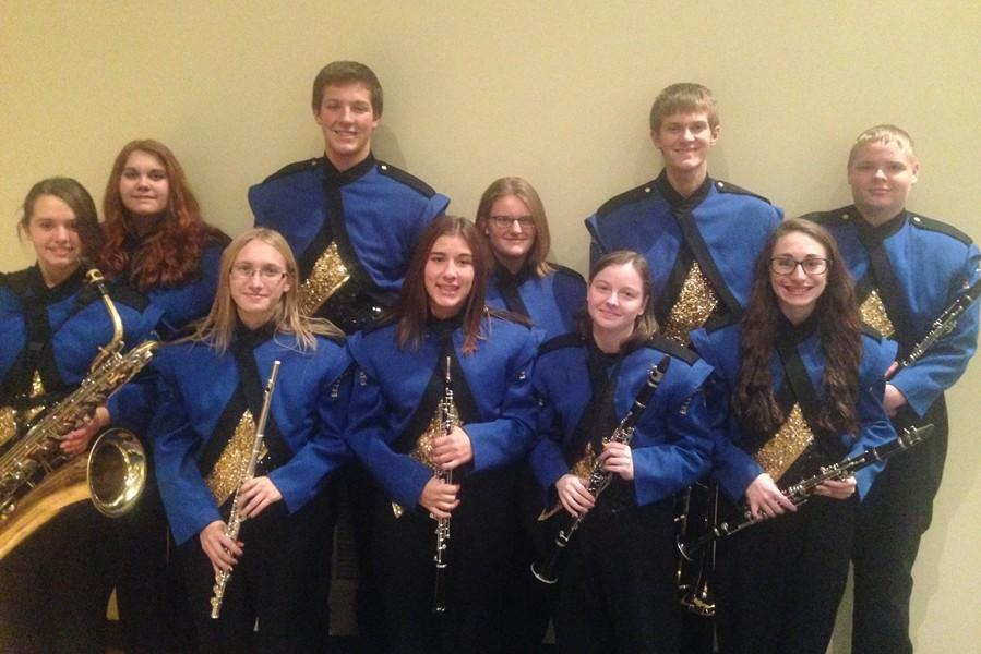 Students from B-A recently attended County Band at Claysburg-Kimmel High School.  Pictured are, front row (l to r) Amanda Baldwin, Sarah Knisely, Brande Robison, and Amanda Albright; back row (l to r) Katie Hamer, Angela Young,  Nick Perry, Sydney Hinkle, Matthew Perry, and Noah Maceno.