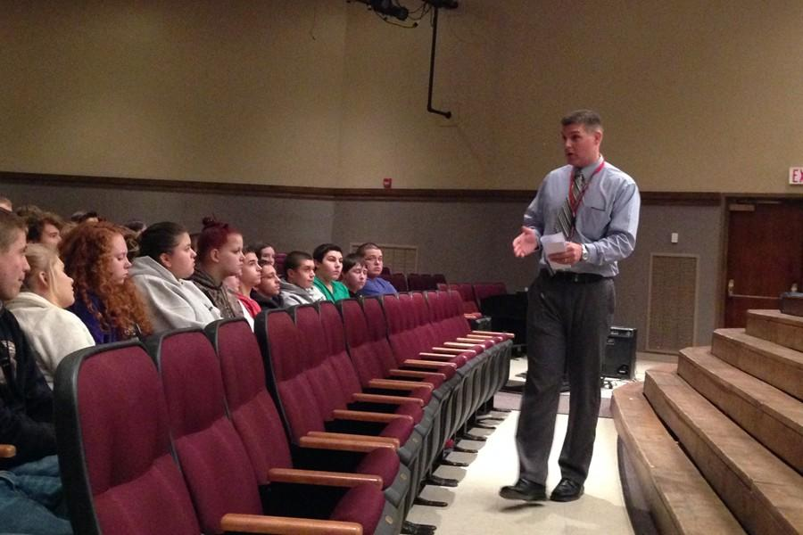 New high school principal Mr. Schreier met with the student body in grade level meetings on Monday, his first official day on the job.