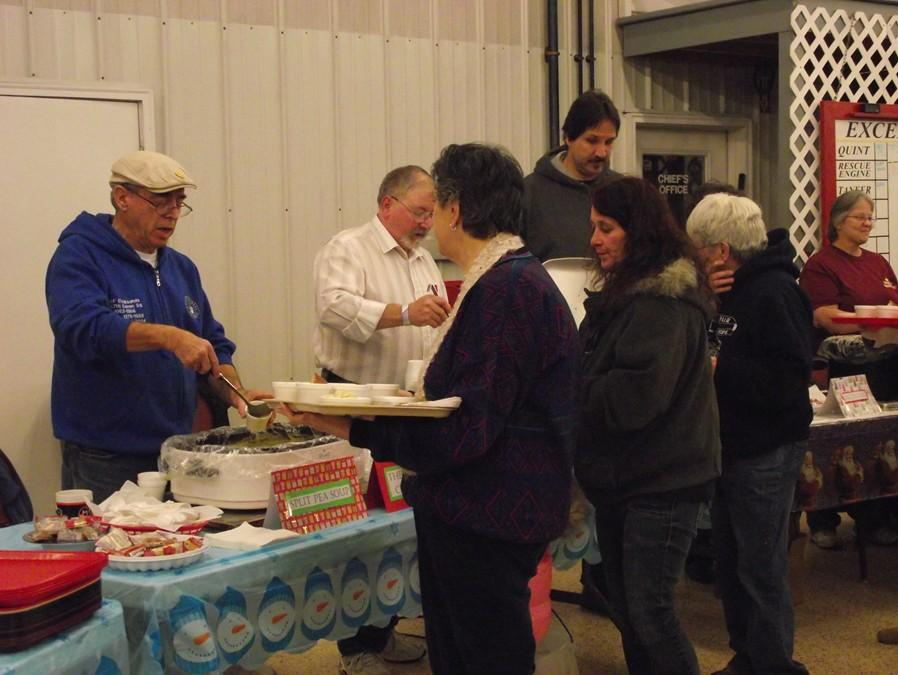 In line for some yummy soup at the Excelsior Fire Company.