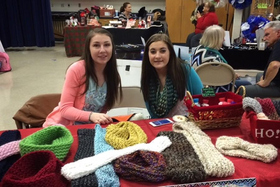Tia Aurandt and Asia Beeler were among many Bellwood-Antis students who worked  at the craft fair last year.