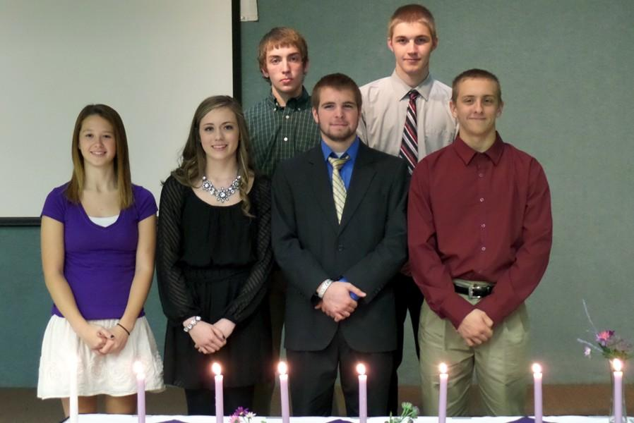 Several Belwood-Antis students who attend the Career and Technology Center in Altoona were honored with induction into the National Technical Honor Society.  Front row (l to r): Sierra Stevens, Hannah Figard, Johnny Killinger, and Scott Pearce.  Back (l to r): Max Leskowitz and Cole Wilson-Kerns.