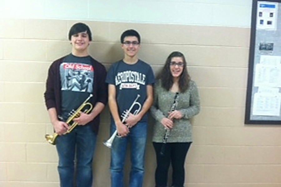 From left to right, Revel Southwell, Curt Messner and Sarah Knisely all qualified for PMEA District band.