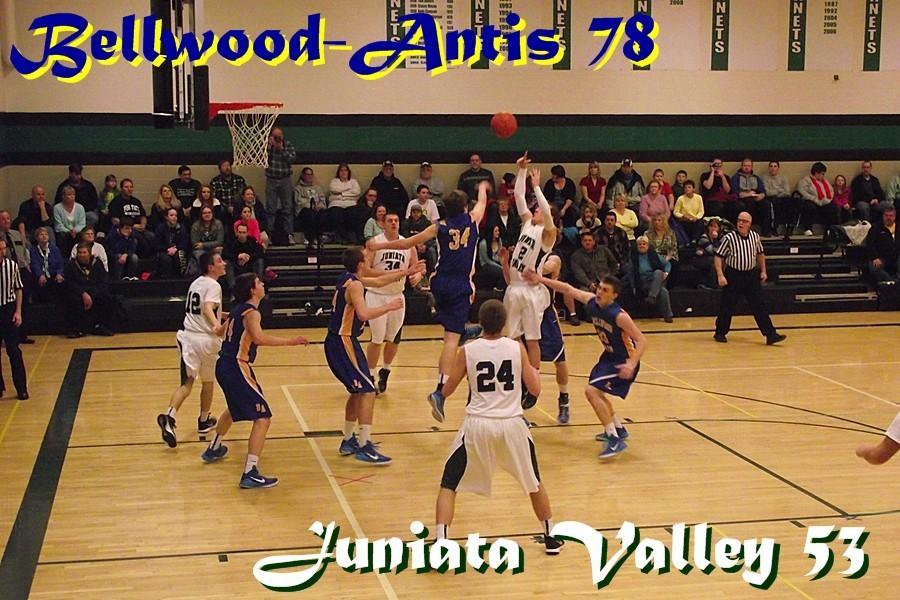 Jarrett Taneyhill swats away a shot against Juniata Valley.