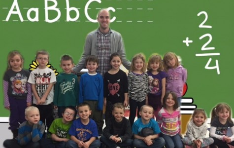 Mr. Germino poses with his kindergarten class