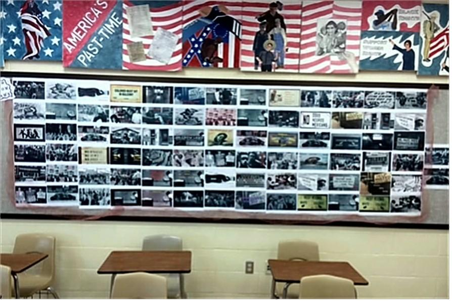 Eleventh grade students work was the basis for a large mural Mrs. Brandt created in her classroom.