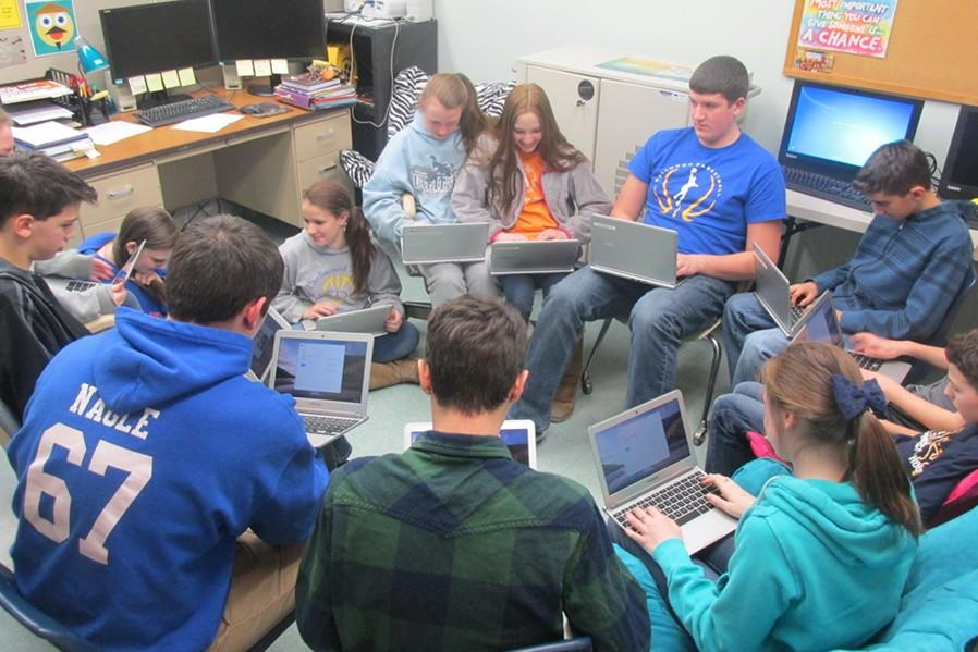 Middle+school+tech+club+students+have+already+started+checking+out+their+new+Chromebooks%2C+which+they+will+begin+using+Monday+as+part+of+a+pilot+program+at+Bellwood-Antis.
