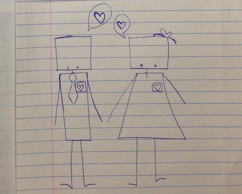 Senior Paige Padula submitted this doodle, which she titled Robots in Love.