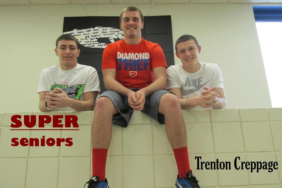 Super senior Trenton Creppage is flanked by two good buddies, Kyler Lardieri (left) and Cameron Wood (right).