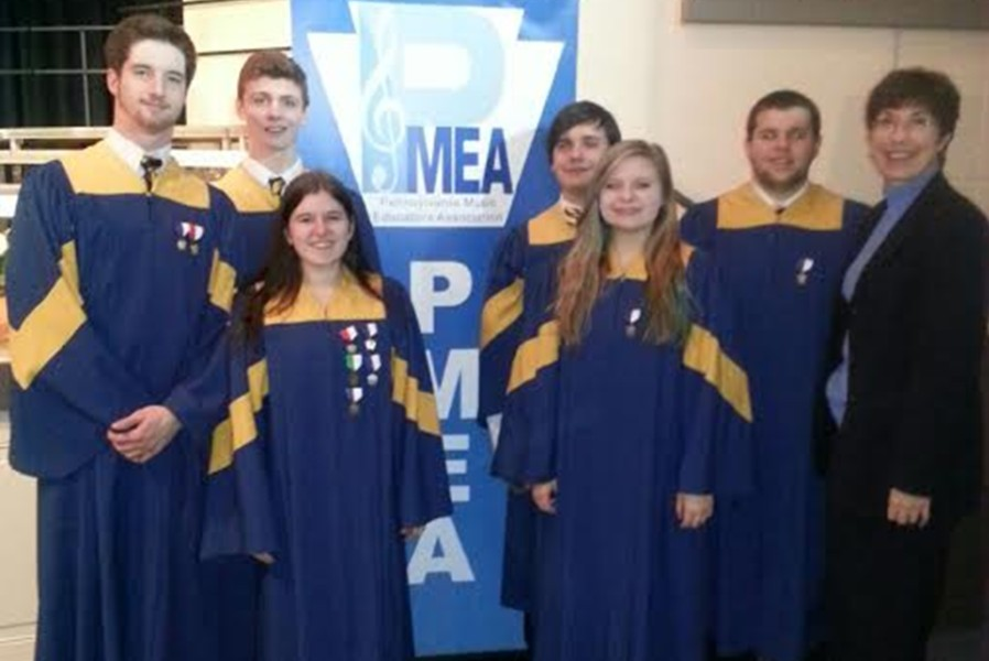 Randy Zitterbart, Luke Hollingshead, Emily Estright, Revel Southwell, Emily Hoover, Lain Hall, and choral director Ms. Hull represented Bellwood-Antis at the PMEA District 6 choral concert.