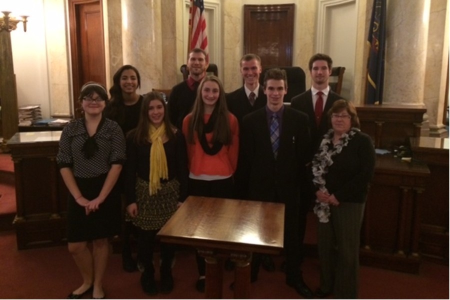 The mock trial team lost its match to Bishop McCort at the Cambria County Courthouse in Ebensburg.  Team members present were, front row: Kerri Little, Sarah Knisely, Taylor Shildt, Lucas Tuggy, and coach Sally Padula; back row: Kayla Wooten, coach Kerry Naylor, Isaac Mills, and Randy Zitterbart.