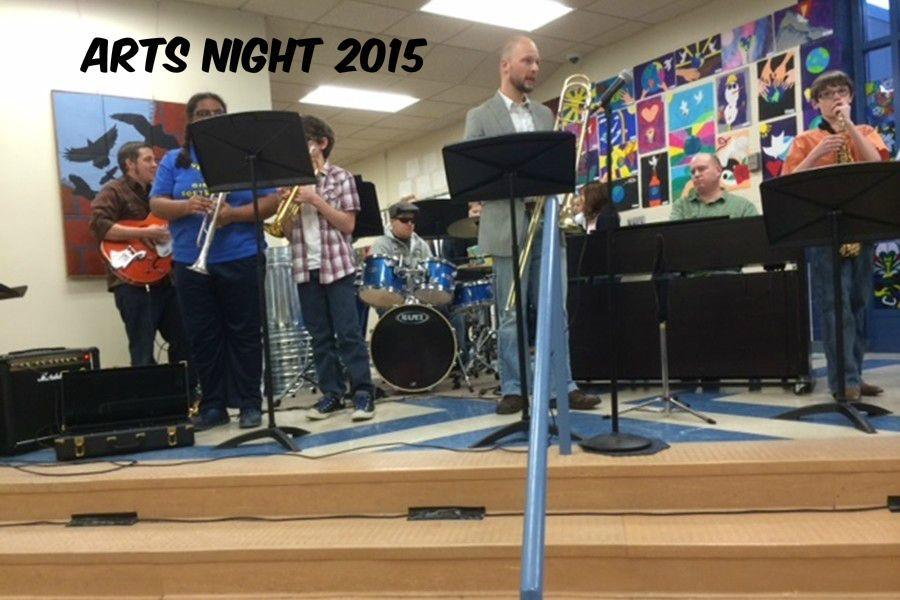 Mr. Sachse participated in a student jazz band that kept Arts Night attendees entertained throughout the event.