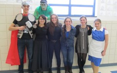 Dallas Huff, Emily Wagner, Ryan Boslough, Kelly Leamer, Kiara Wolfe, Paige Padula and Dionna Pearce were among the students dressed up for Dress as Your Book Favorite Character Day last year.