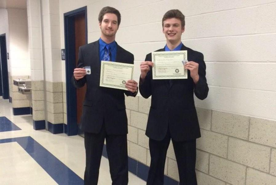 Randy Zitterbart and Luke Hollingshead were among five Bellwood-Antis students to win their category at District speech last week.