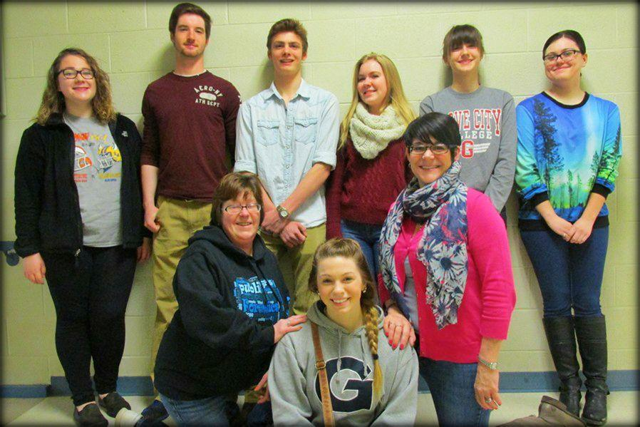Several students from Bellwood-Antis qualified for nationals in speech.  Front: Jules Lusk; Kneeling: Coach Sally Padula and Coach Cherie Bower; standing: Ali McCaulley, Randy Zitterbart, Luke Hollingshead, Grace Misera, Stephanie Mills and Keri Little.