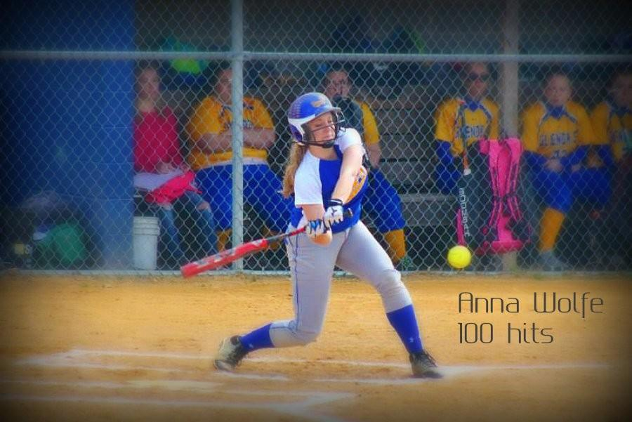 Anna Wolfe is now the third Lady Devils softball player to reach 100 hits.