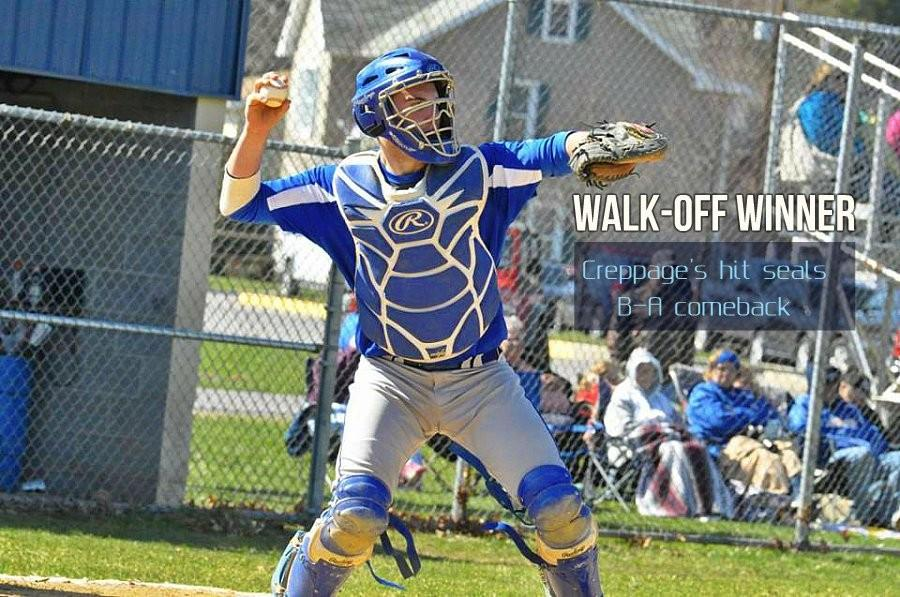 Trenton Creppage delivered the big hit to give B-A a come-from-behind win over West Branch.