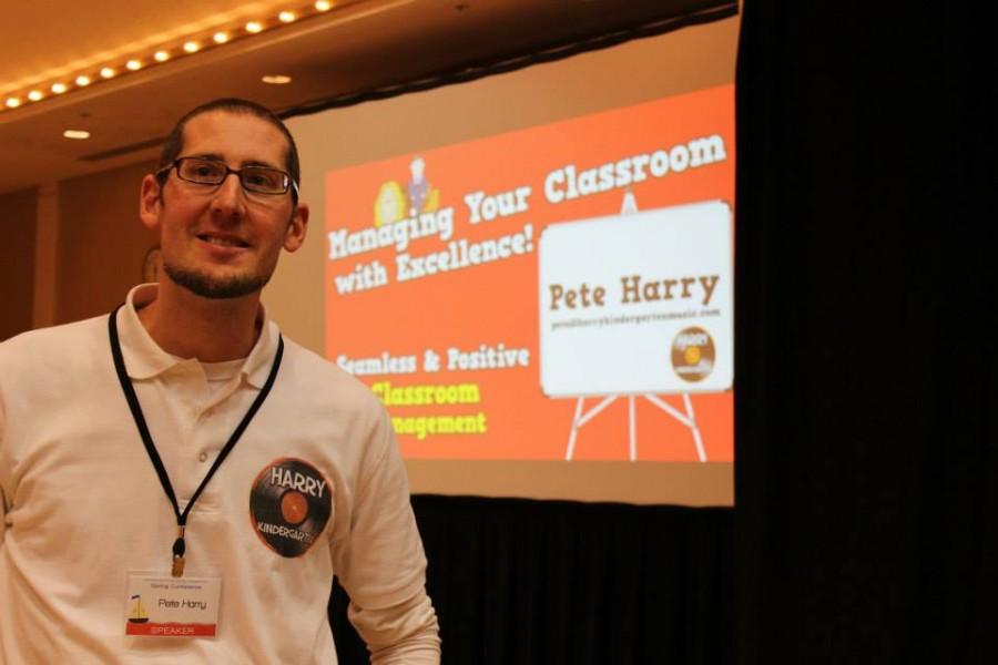 Myers kindergarten teacher Pete Harry prepares for a presentation at a recent kindergarten convention.