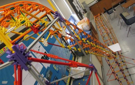 The miniature roller coaster from Mrs. Flarend's room is one of the neat items to be on display tonight at the first annual STEM night.