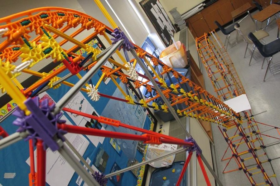 The miniature roller coaster from Mrs. Flarends room is one of the neat items to be on display tonight at the first annual STEM night.