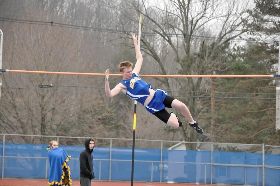 Justin Gunsallus, who placed fourth in the pole vault, was one of a large group of Blue Devil harriers to earn team points Saturday at the United Invitational.