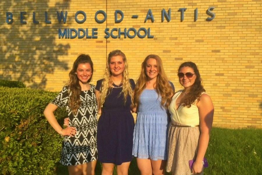 (L to r) Paige Padula, Natalie Dumin, Anna Wolfe and Rachael Harris were among the scholarship recipients at the annual scholarship banquet earlier this week.