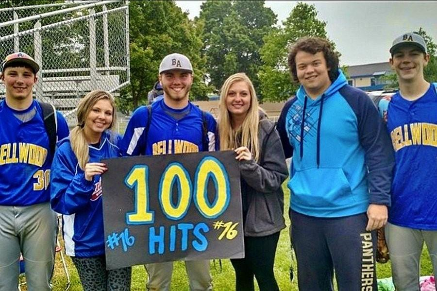 Trenton Creppage smacked his 100th hit and the Blue Devils advanced to the District championship. Hes shown here after the game with Jordan McCracken, Lexi Crusciel, Natalie Dumin, Ryan Bouslough and Joe Padula.