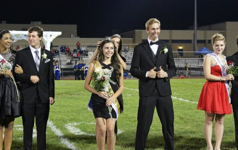It's hard to say who was more thrilled with the announcement of the new Homecoming Queen: the winner, Maria McFarland, or her escort, Nathan Davis.