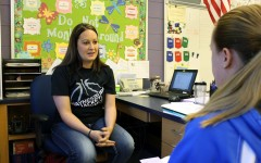 Myers teacher Kyley Longo-McGarvey recently spoke with reporter Kara Engle about a project to raise money for Stockings for Troops.