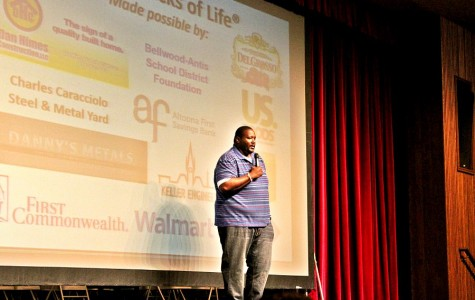 Quinton Aaron speaks to students at B-A