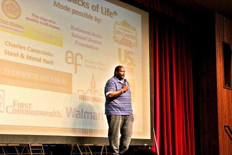 Actor Quinton Aaron spoke at Bellwood-Antis Thursday and moved the crowd with his very genuine presentation.