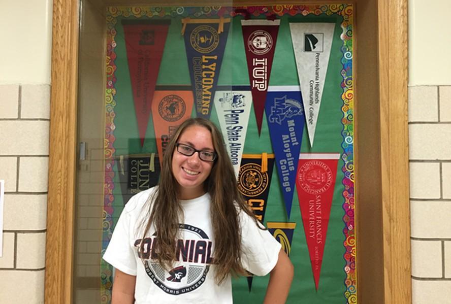 Senior, Christina Kowalski, showing off her RMU pride.