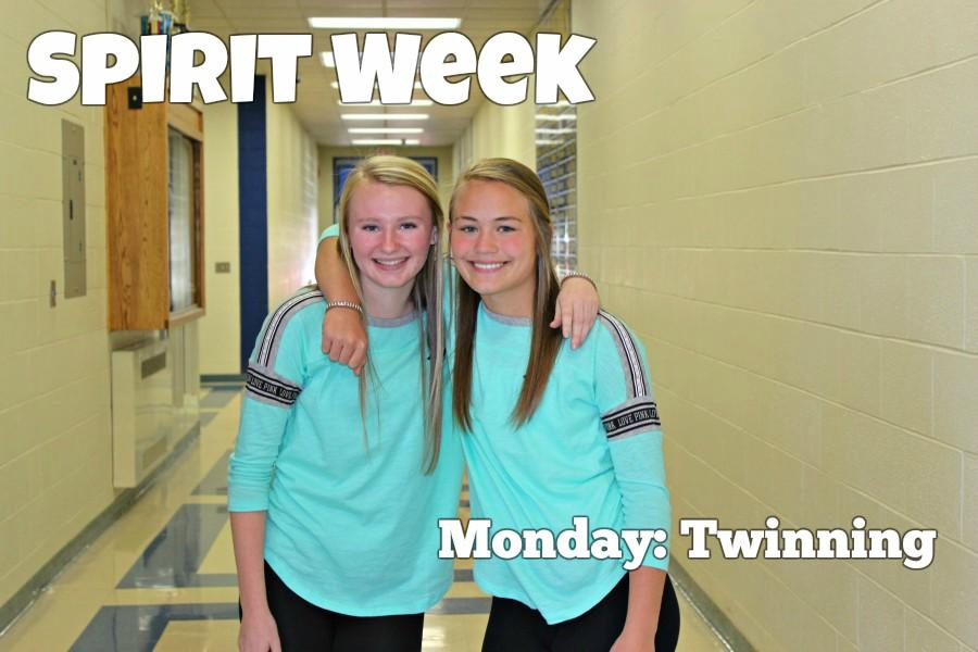 Freshmen Riley D'Angelo and Brynne Swogger did some twinning in their Nike shirts.