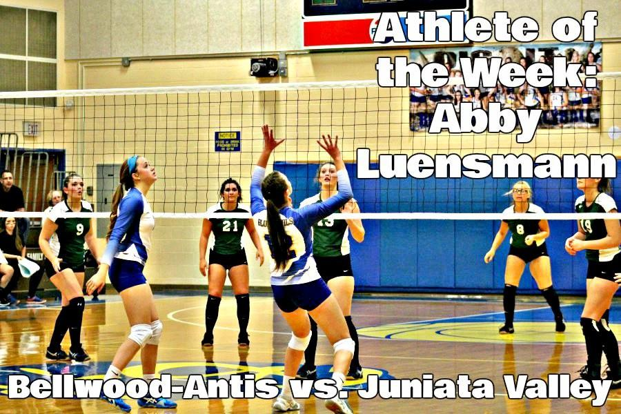 Luensmann setting one of her many sets Tuesday against Juniata Valley.