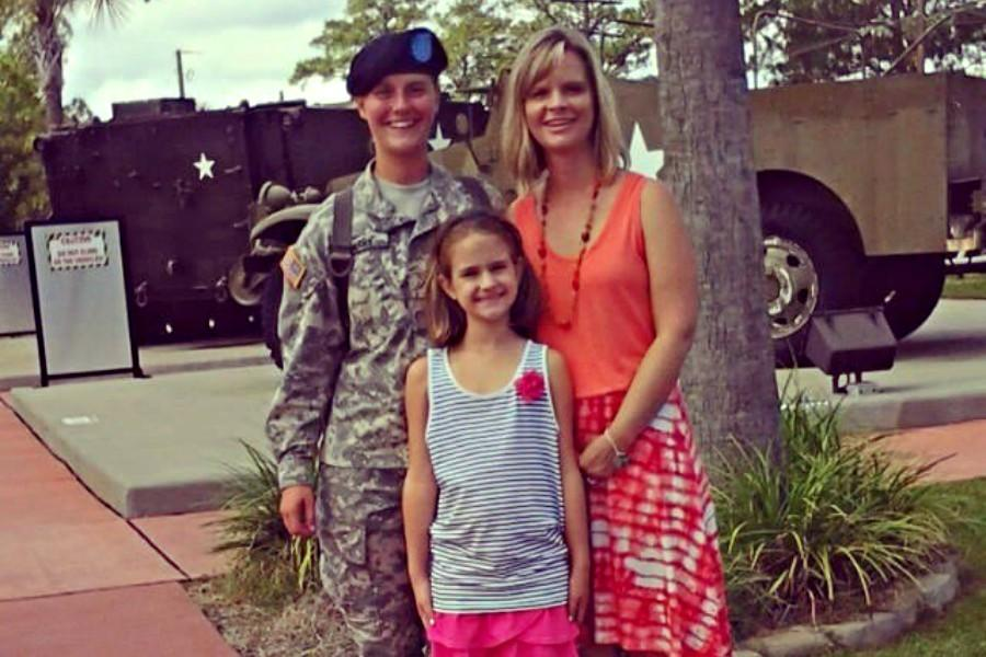 Hannah Cherry with her mother and sister after graduating from Basic Training.