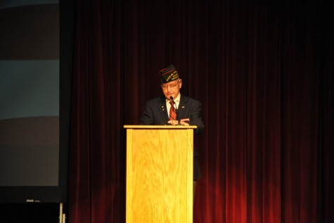 Commander Thomas Brown of the Pennsylvania Veterans of Foreign Wars was the featured speaker at Monday's Veterans Day Assembly.