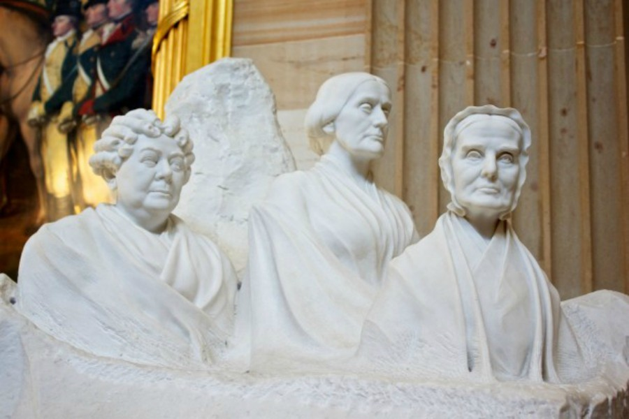 Leaders of women's suffrage statue on Capitol Hill featuring Elizabeth Cady Stanton, Susan B. Anthony and Lucretia Mott.