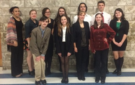 Speech team members in cude: front row (l to r) Jeremy Morrissey, Alivia Jacobs, Addison Clemente and Brande Robison. Back row (l to r): Dejah Rhodes, Michelle Miller, Hannah Hornberger, Sydney Patterson, Revel Southwell, Luke Hollingshead and Kerri Little.